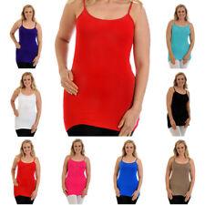 New Womens Vest Ladies Plus Size Strap Tank Top Plain Cami Stretch Long Nouvelle