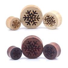 Tapones para los oídos de madera de copos de nieve-laser grabado Madera de Bambú & Rose