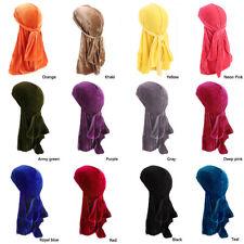 Unisex Men Lady Velvet Silk Hat Breathable Bandana Turban Cap Durag Headwear