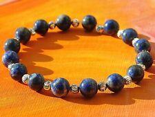 Mens / Ladies 8mm Gemstone & Silver Beaded Bracelet - Natural Lapis Lazuli.