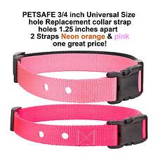 """PETSAFE 3/4 inch Universal Size 1.25"""" Collar Strap- 2 Straps Orange & Pink"""