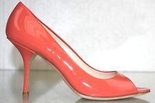 NEW Prada Peep Toe Patent Leather Pumps Heels Coral Orange Shoes 39.5