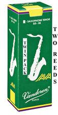 Twin Pack Vandoren Java Green Unfiled Tenor Sax Reeds 1.5 2 2.5 3 3.5 Free Del