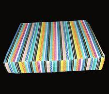ak332t Pink Yellow Blue Purple Stripe Cotton Canvas 3D Box Seat Cushion Cover