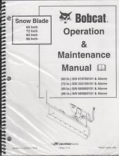 BOBCAT SNOW BLADE OPERATION & MAINTENANCE MANUAL 2003