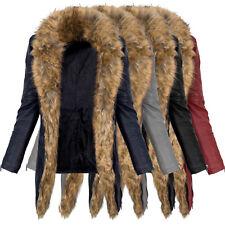 Mujer Cuero Artificial abrigo chaqueta de Motorista Largo Cálido piel de peluche