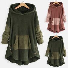 Women Fleece Patchwork Plush Button Hem Plus Hoodie Top Sweater Blouse M-5XL KM
