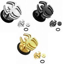 Fake oreja Plug piercing araña mancuerna pendientes arete Spider acero inoxidable