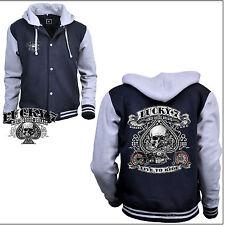 * Jacke Biker Choppers Skull Harley-Chopper-Motiv Kapuzen Baseball Jacket *4240
