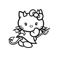 """5"""" Hello Kitty Démon Autocollant Vinyle Autocollant Voiture Fenêtre Ordinateur Portable Diable Evil Hell Bad"""