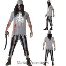 CA96  Zombie Pirate Ghost Mens Walk Dead Halloween Scary Fancy Dress Up Costume