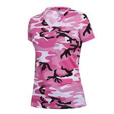 Pink Camo V-NECK T-Shirt Breast Cancer Awareness Army Navy USMC Longer Length