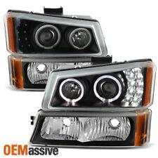 2003-2006 Chevy Silverado Black Halo LED Projector Headlights+Corner Bumper Lamp