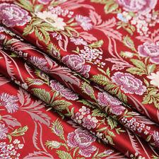 Peony Jacquard Damask Fabric Chinese Brocade Cloth Furnishing Material By Metre