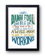 Charles Bukowski Quote Print, hand drawn typographical art, post office
