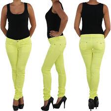 jeansDamen Hüft Hüfthose Röhre Röhrenhose Stretchhose Stretch Stoff Gelb Skinny
