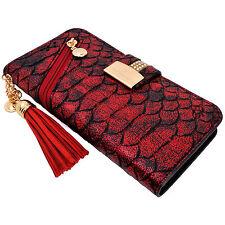 Red Snake Skin PU Leather Flip Wallet Case Cover Card Holder Tassel for iPhone 7