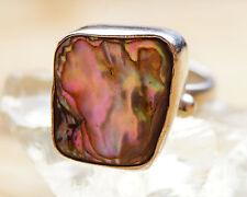 Breit Silberring 57 59 Perlmutt Pauamuschel Ring Silber Massiv bunt Seeopal