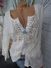 Heine Linea Tesini  Shirt Bluse Gr. 36 bis 42 Creme Spitze (214) weich fallend