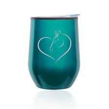 Stemless Wine Tumbler Coffee Travel Mug Glass Cup w/ Lid Heart Horse