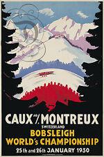 REPRO DECO AFFICHE CAUX MONTREUX BOBSLEIGH JANV 1930  SUR PAPIER 310 OU 190 GRS