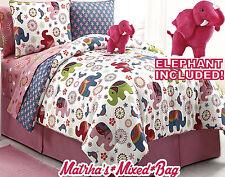 Girl Pink Zoo Safari Elephant Floral Twin/Full Comforter Sheet Set+Plush Animal