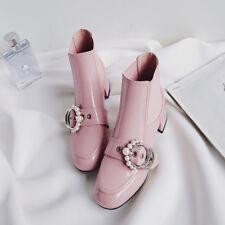 Fashion Women's Sweet Buckle Pearls Ankle Boots Block Heel Suqre Toe Casul Shoes