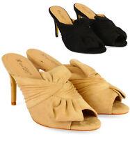 Women's Ladies Faux Suede Stilettos High Heel Mules Party Sandals Shoes Size3-8