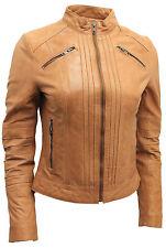 Ladies 100% Nappa Leather Tan Pleated Brando Biker Jacket