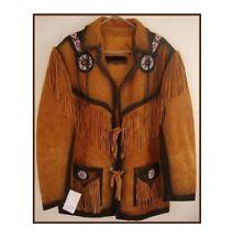Men Golden Brown Suede Western Cowboy Leather Jacket With Fringe