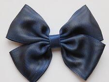 Barrette Noeud Accessoires Cheveux Satin Enfant Femme Fait Main Bleu marine