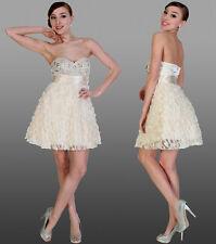 Sweetheart Beige Formal Evening Prom Ball Dress Short Rosette Tulle Beaded New