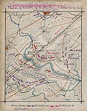 1862 Civil War Map Plan of Kettle Run & Bristoe Station Military Poster History