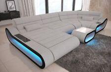 Design Wohnlandschaft CONCEPT U Form Stoff Couch in elfenbein + LED Beleuchtung
