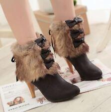 stivali stivaletti invernali scarpe stiletto simil pelle nero beige 8.5 cm 9377