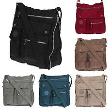 XL Große Nylon Umhängetasche Schultertasche Tasche Damentasche Schwarz Braun UNI