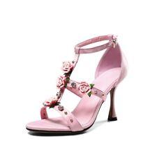 Chic Womens Pink Diamante Flowers T-strap Stiletto Shoes Wedding Bride Heels