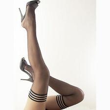 Sexy Halterlose Strümpfe XS S M L schwarz ohne Naht Nylons Dessous Reizwäsche