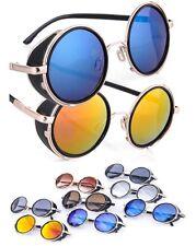 ROUND 50s Mirror VINTAGE CYBER GOGGLES Sunglasses GOTH  STEAMPUNK  VICTORIAN