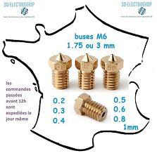 buse M6 V5/V6 laiton imprimante 3D print nozzle 0.2 0.3 0.4 0.5 0.6 0.8 1 mm