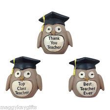 OWL Thank You Teacher  Pebble - Top Class - Best - Brown - Pocket Size - Gift