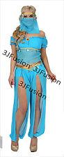 BLUE Principessa Jasmine Genie BELLY DANCER Arabian NIGHTS FANCY DRESS SPEDIZIONE GRATUITA (G