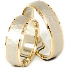 14K Gold Matching Two Tone Hammered Wedding Ring Set