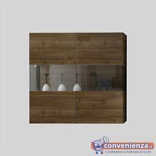 INFINITY Vetrina 2 Ante Fianchi Vetro Effetto Legno Noce Dark