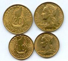 Gertbrolen MADAGASCAR 10 & 20 Francs 1953 monnaies neuves issues d' un rouleau