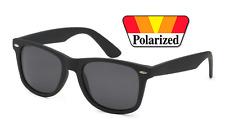 Polarized BLACK Matte RUBBER FEEL Sunglasses Men Women Retro Spring Temple 80's