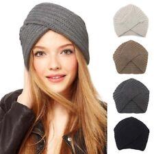 Lady Women Warm Wool Knitted Hat Beanie Outdoor Scarf Turban Head Wrap Cap LD