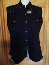 Ladies' Sleeveless Denim Snap Front w/pockets & studs on collar & Yoke - NEW