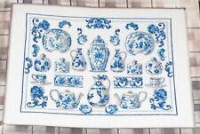 """Permin Blue """"China"""" Linen Cross Stitch Kit NIP 20x15"""""""