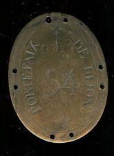 Plaque de métier - DIJON portefaix n° 54 (porteur à la gare ou au marché)